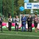 Торжественное открытие современного футбольного поля.